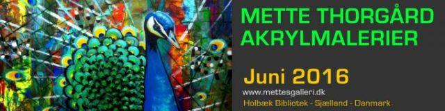 Mette Thorgård udstiller akrylmalerier på Holbæk Bibliotek Juni 2016 - Gratis adgang