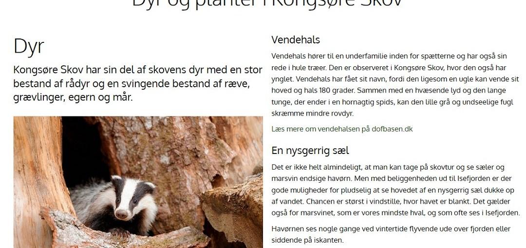 Skærmbillede af Naturstyrelsen's hjemmeside