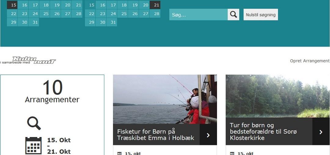 skærmbillede af hjemmesiden Oplev Holbæk Okt.2018
