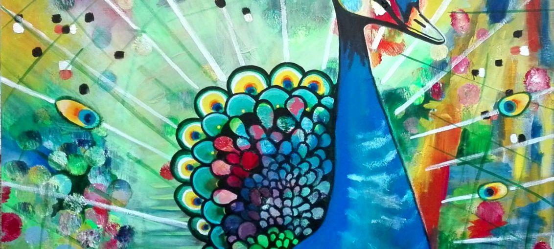 paafugl_2 - Akrylmaleri af Mette Thorgård