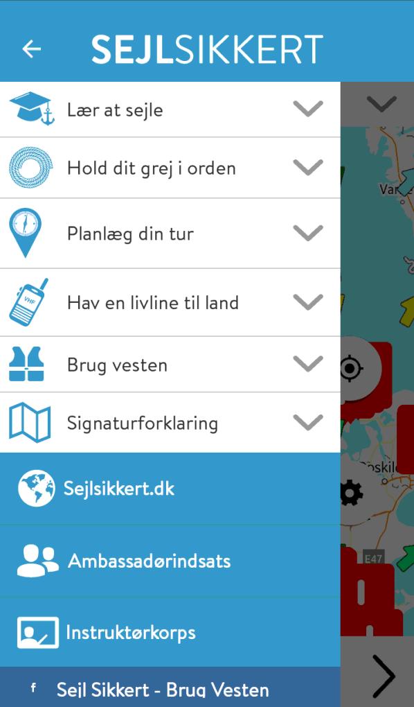 Skærmbillede af den opdaterede App Sejl Sikkert - Nye muligheder og menuer