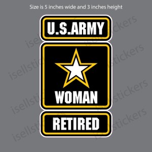 Army Star Woman Female Retired Military Decal Sticker