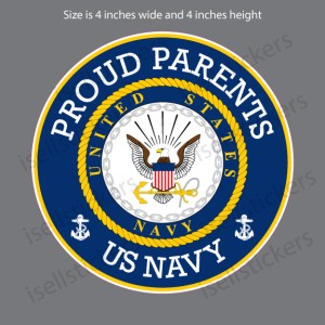 Proud Parents US Navy Military Bumper Sticker Vinyl Window Decal