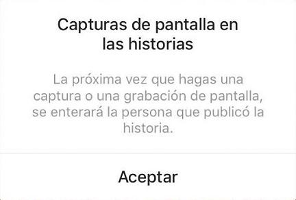 Notificación de Instagram al realizar una primera captura de pantalla de una historia de otro usuario