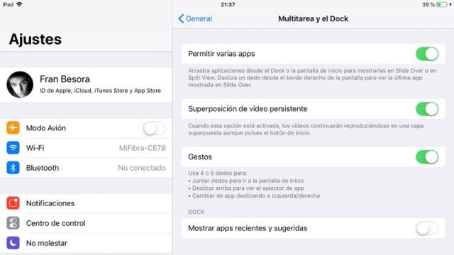 Cómo dejar de ver las apps recientes en el Dock del iPad