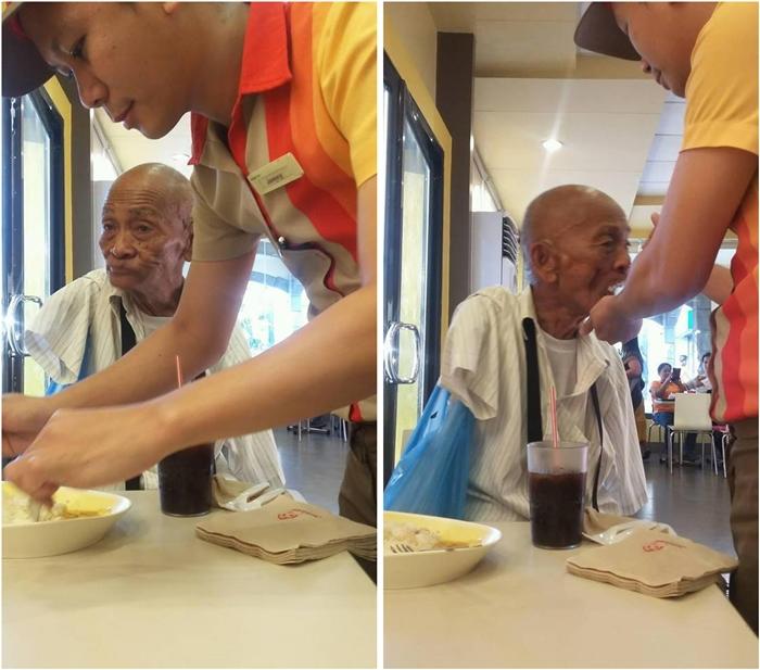 Jemcy Carino Jollibee Agoo Kindness to a Physically disabled Lolo