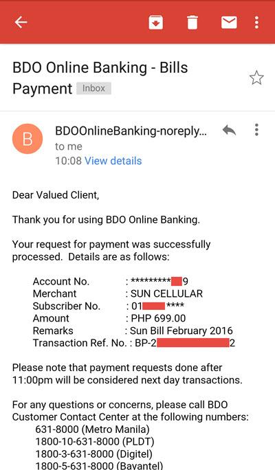BDO Bills Payment Receipt Sent to Email