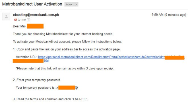 Metrobank Direct online activation email