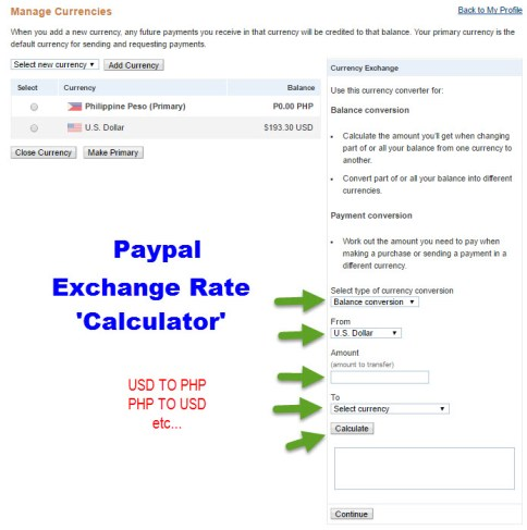 Check Paypal Exchange Rate USD to PHP
