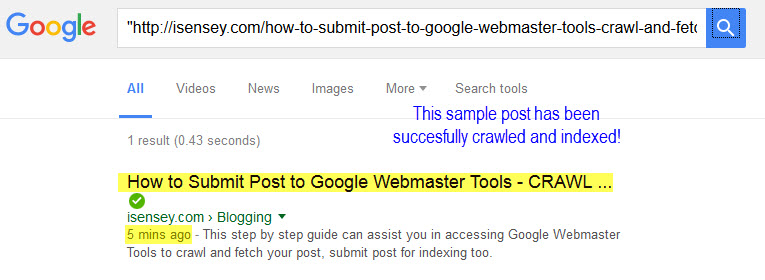 Check if post has been index in Google