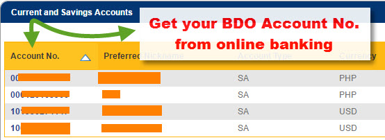 Get BDO Account No from online banking