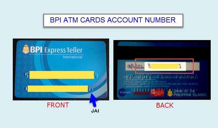 find account number on bpi atm card