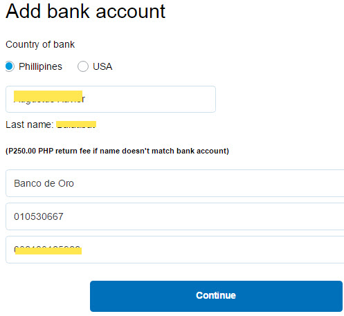 Add bank to Paypal account