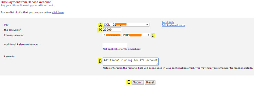 COL account bills payment using BPI online