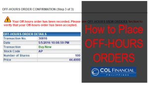 How to place Off Hours Order in COL Financial