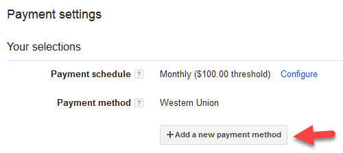 Choosing Google Adsense Payment Method