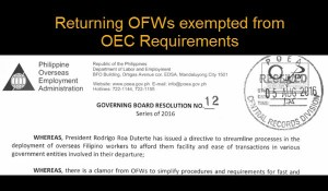 No More OEC Requirement for Returning OFWs under the Balik Mangagawa Program