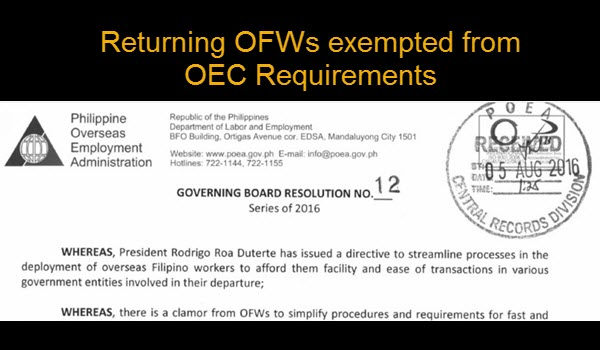 OFW Exempted for OEC Requirements