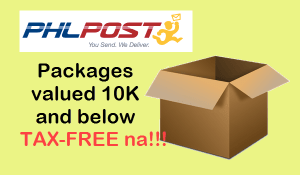 PHLPost Tax Free packages 10K and below value