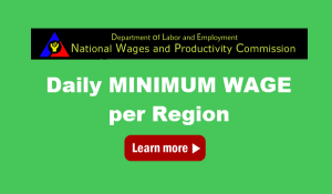 Latest DOLE Daily Minimum Wage Rates Per Region