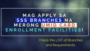 sss branches that accepts umid card applications