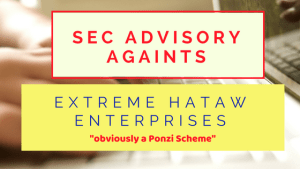 SEC Advisory Against Extreme Hataw Enterprises Online Paluwagan