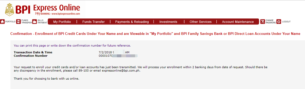 enroll bpi credit card to bills payment
