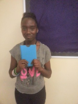 Shanesha with her Kindle and nice case