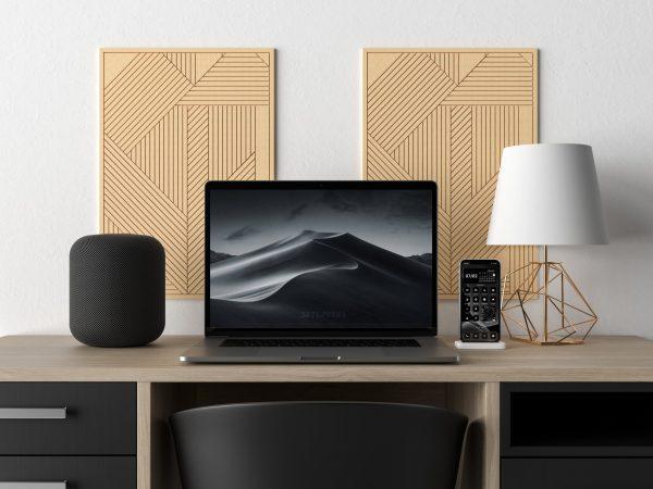 black minimal icon pack mockup with macbook