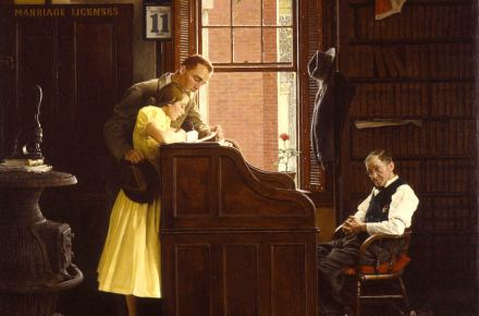 Marriage License painting by Rockwell