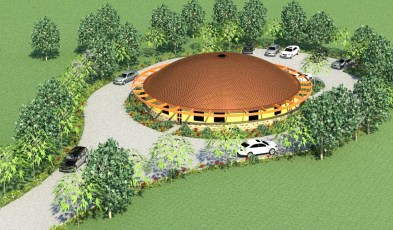 Early concept for dome Meeting Hall.