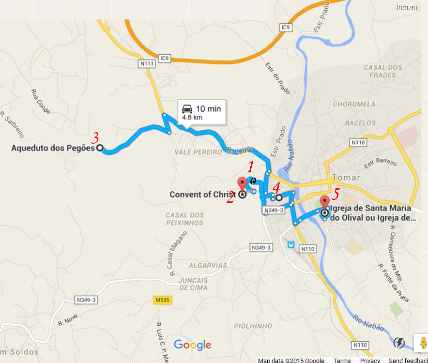 5 must see places in Tomar map