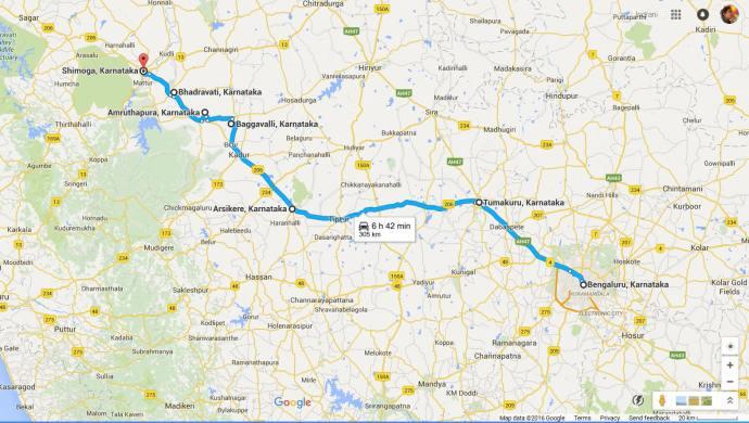 map road trip Bangalore to Shimoga