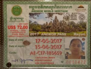 Ticket for visit to Angkor Temples Siem Reap