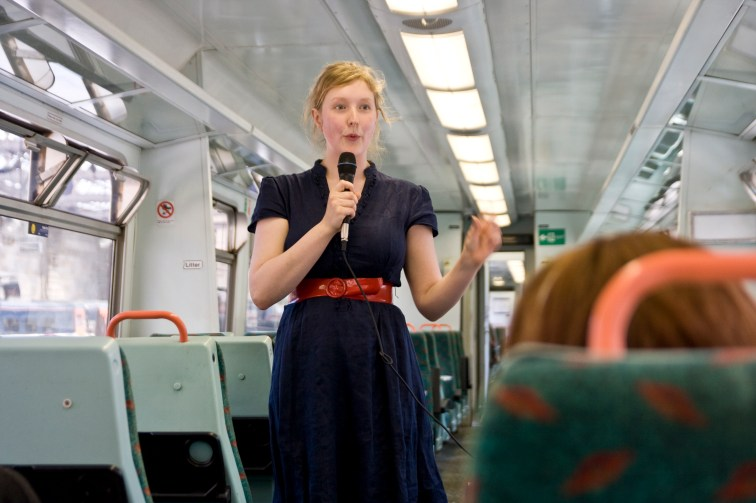 Performing on the train between Edinburgh and Glasgow