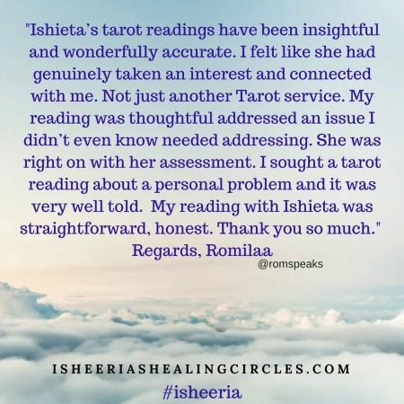 Testimonial Isheeria Tarot Reading