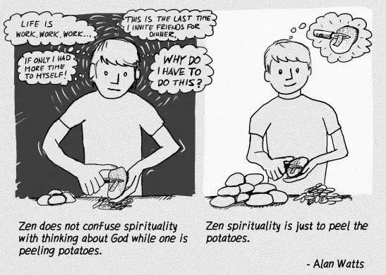 Zen isheeria peeling potatoes