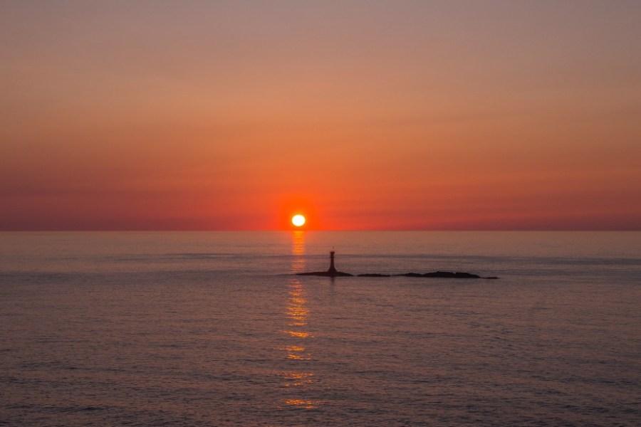 堅苔沢の夕日