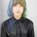 一時的に派手髪にしたい方に!薄めたトリートメントカラーでブルーとグリーンに染めるハーフツートーンカラー