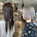 暗い髪色からハイトーンのシルバーカラーのショートボブにスタイルチェンジ!髪型を変える際に重要な3つのポイント