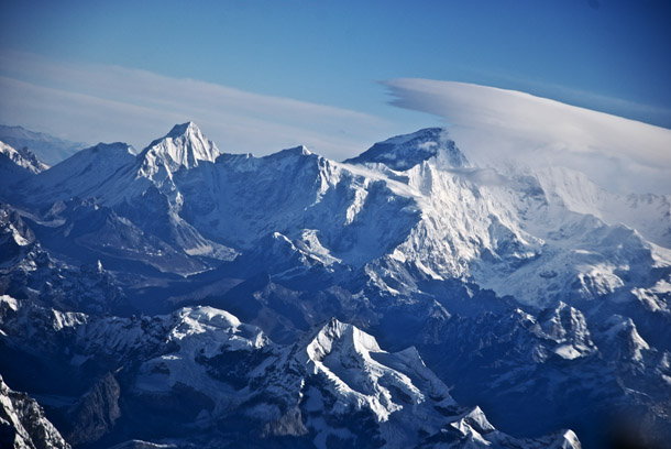 Mt Everest to the left and Lhotse to the right