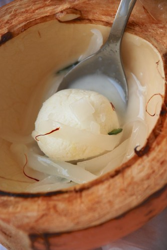 Rasgulla Macapuno - a fusion dessert with popular Bengali sweet Rasgulla and Macapuno, tender coconut meat used in many Filipino desserts