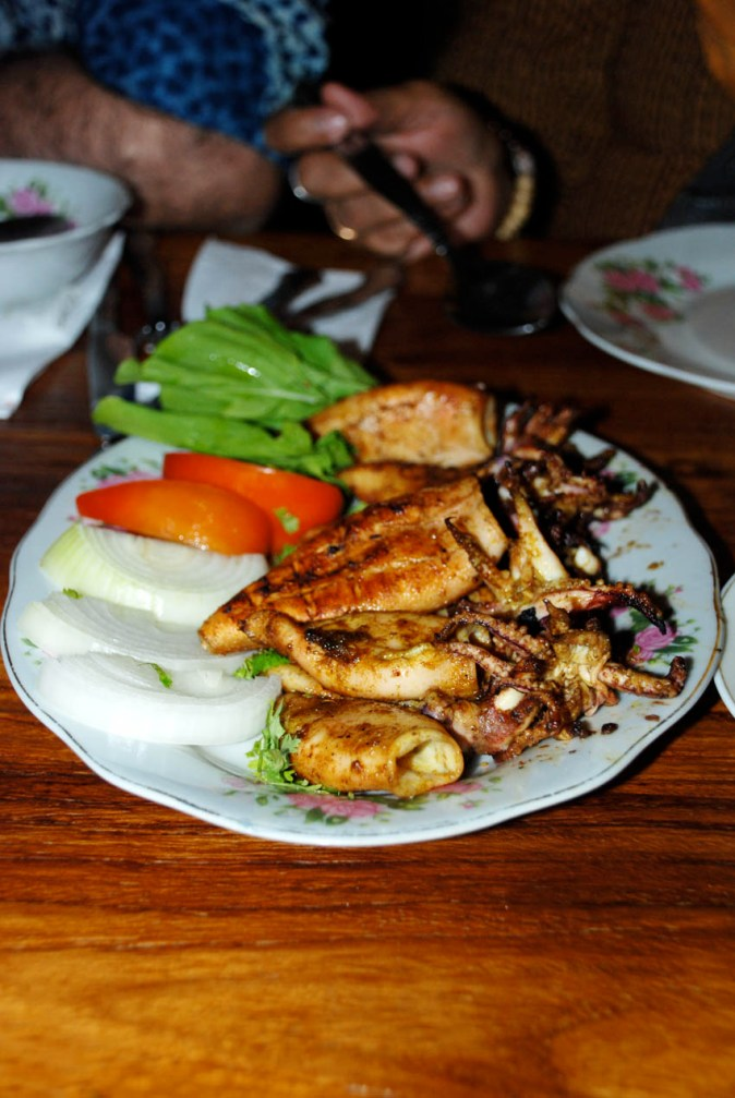 Grilled squid at Al Fanar Restaurant and Cafe