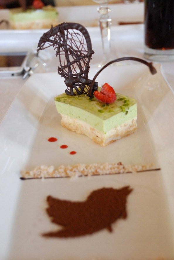 White Chocolate & Pistachio Parfait sprinkled with Coconut Almond & Pistachio Sand