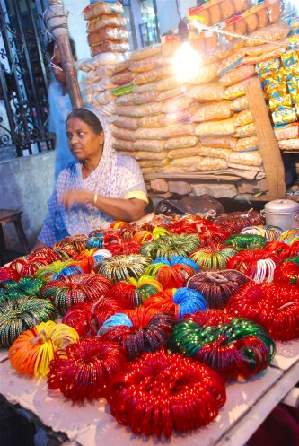 Glass bangles sold in Park Circus, Kolkata