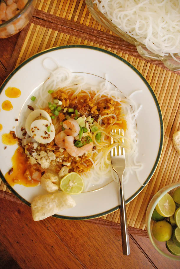 Pancit Palabok with seafood and chicherron