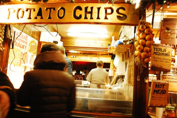 Shops selling Potato Chips in the Christmas market in Prague