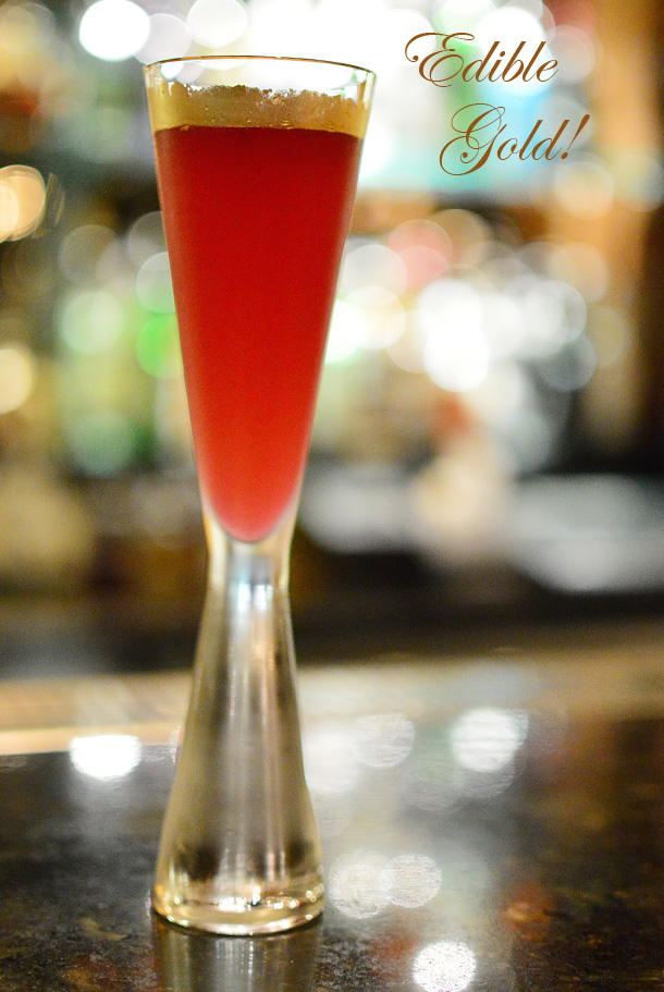Pomegranate Sparkling Martini with edible gold