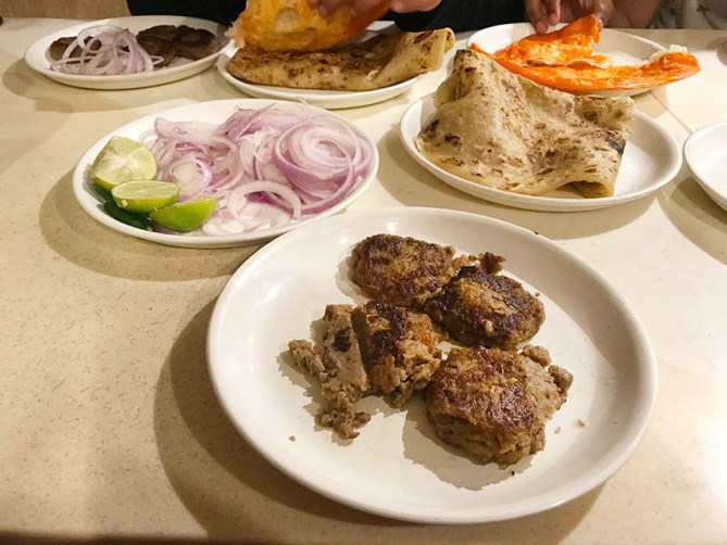 Galawati kabab, Laccha Paratha and Sheermal at Tunday Kabab in Aminabad