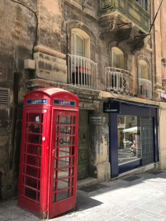 Traditional British red telephone booths